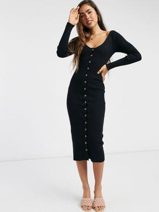 WOMEN Fashion Union knitted midi dress with button front