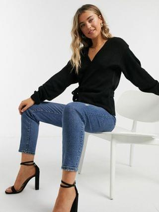 WOMEN In The Style x Lorna Luxe knitted wrap detail top in black