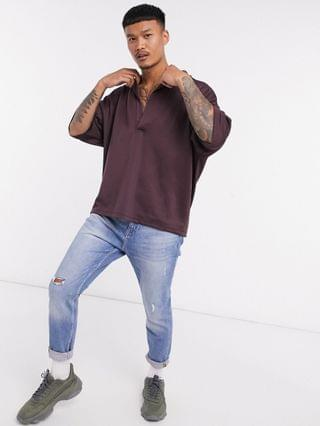 co-ord oversized polo shirt with deep revere in brown scuba