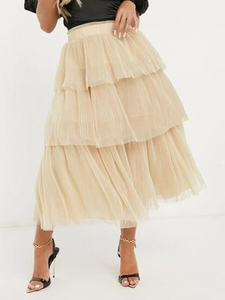 WOMEN tiered mesh midi skirt light brown