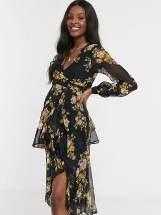 WOMEN Maternity wrap waist midi dress with double layer skirt and long sleeve in black floral print