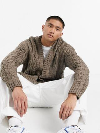 heavyweight cable knit cardigan in putty