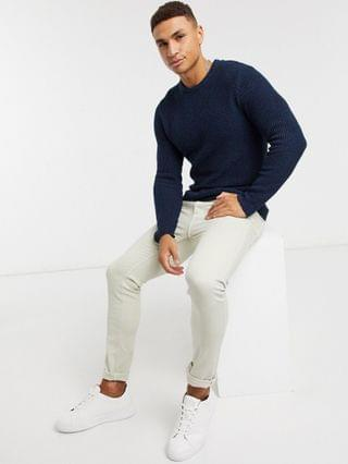 Only & Sons textured sweater in navy twist