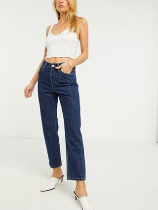 WOMEN Only Fine straight leg jeans with high waist in blue