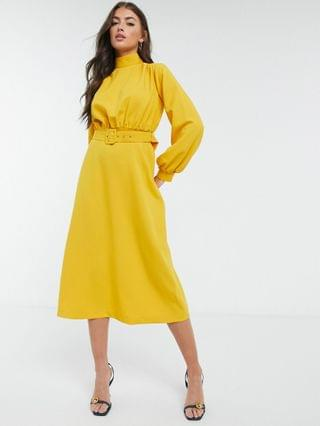 WOMEN Closet London high neck belted midi dress with cuffed sleeve in mustard