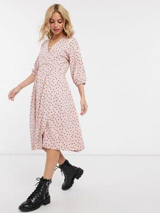 WOMEN Petite midi smock dress with wrap top in dusty pink and black polka dot