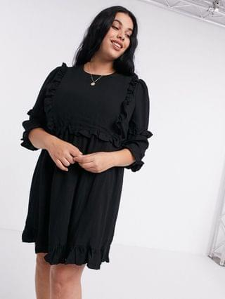 WOMEN In The Style Plus x Lorna Luxe frill detail skater dress in black