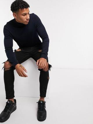 New Look Roll Neck Sweater in Navy
