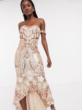 WOMEN Bariano bardot high low patterned sequin maxi dress in rose gold