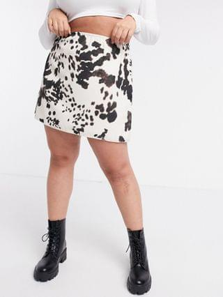 WOMEN Another Reason Plus a-line mini skirt in cow print