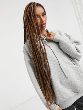 WOMEN Bershka oversized quilted hoodie set in gray