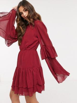 WOMEN Missguided smock dress with keyhole detail in burgundy