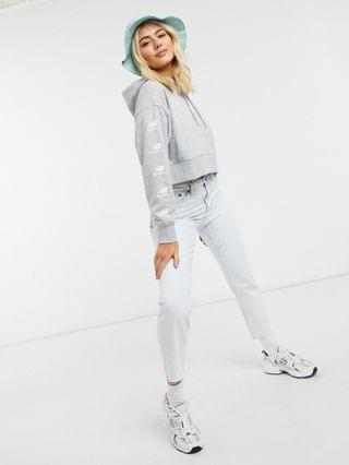 WOMEN New Balance stacked logo cropped hoodie in gray