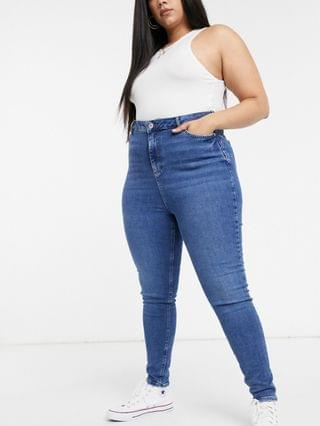 WOMEN New Look Curve skinny jeans in mid blue