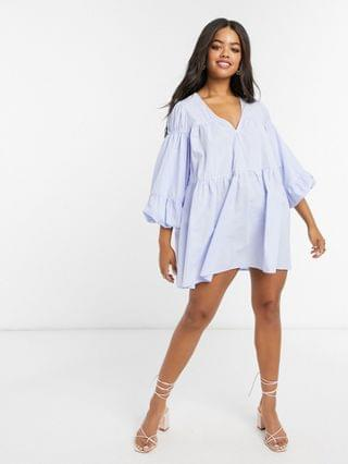 WOMEN In The Style x Lorna Luxe poplin ruched detail smock dress in blue