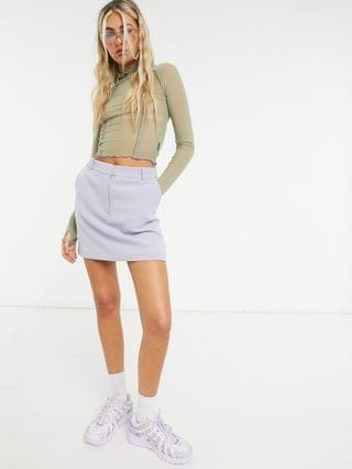 WOMEN Zemeta high neck crop top in mesh with contrast stitch co-ord