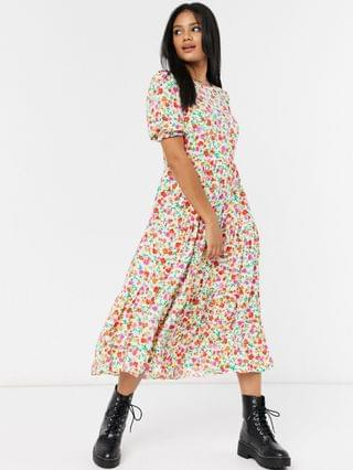 WOMEN New Look smock midi dress in bold floral print