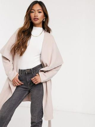 WOMEN Forever New waterfall wrap coat in pink