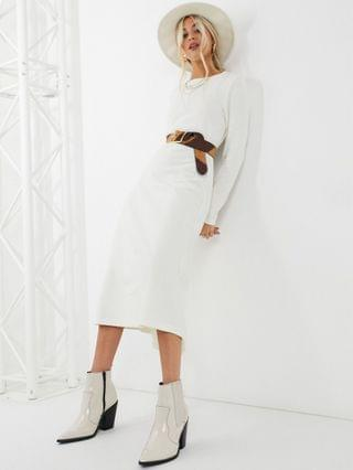 WOMEN super soft midi swing dress with long sleeve in winter white