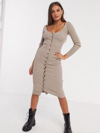 WOMEN Fashion Union Petite knitted midi dress with button front