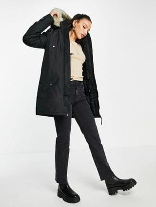 WOMEN Vero Moda Tall parka with faux fur hood in black