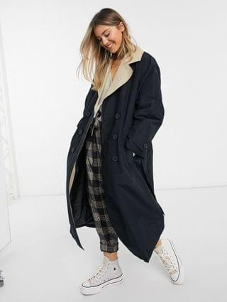WOMEN contrast trench coat in stone and black