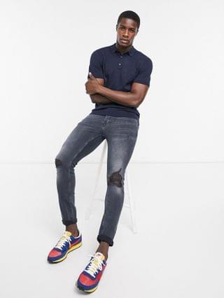 Topman knitted polo in navy