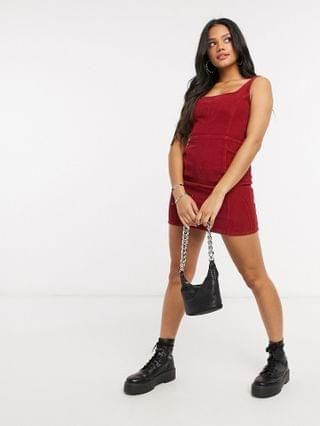 WOMEN cord square neck jumper in red