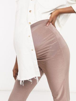 WOMEN Club L London Maternity slinky body-conscious short in taupe