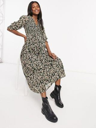 WOMEN Maternity midi smock dress with shirred cuffs in floral print