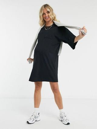 WOMEN Maternity oversized winter weight T-Shirt Dress with pocket in black