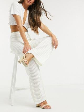 WOMEN In The Style x Lorna Luxe lullaby ribbed wide-leg pants in ecru matching set