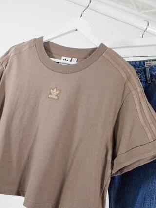 WOMEN adidas Originals Plus New Neutrals cropped t-shirt in brown