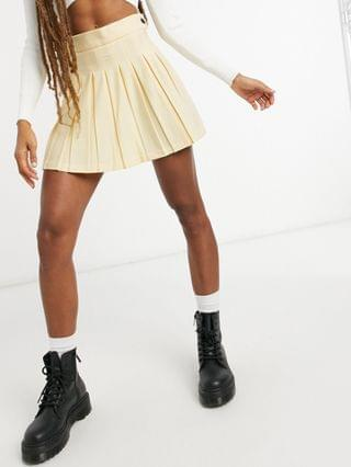 WOMEN Bershka coordinating pleated mini skirt in yellow