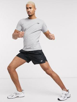 New Balance Running heathertech t-shirt in grey
