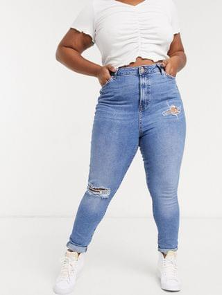 WOMEN New Look Curve ripped mom jeans in mid blue
