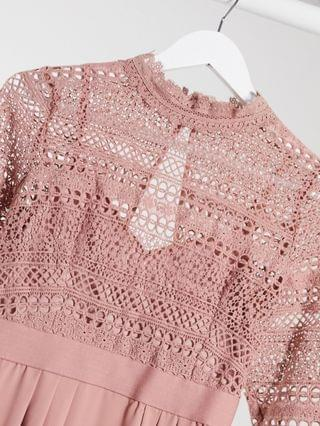 WOMEN Little Mistress Maternity lace detail midaxi dress in cosmetic pink