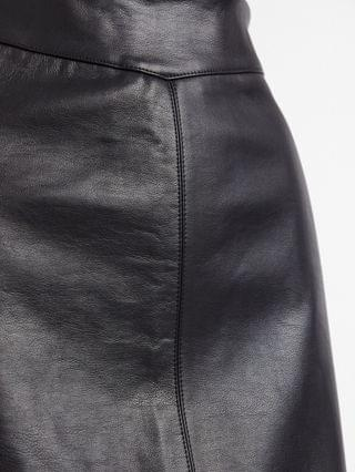 WOMEN New Look seamed faux leather mini skirt in black