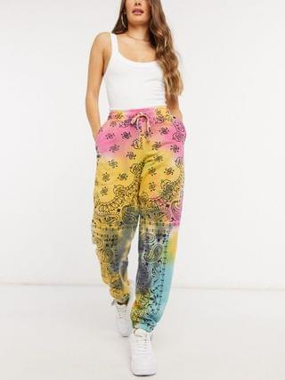 WOMEN Jaded London oversized sweatpants in grunge tie-dye and graphics
