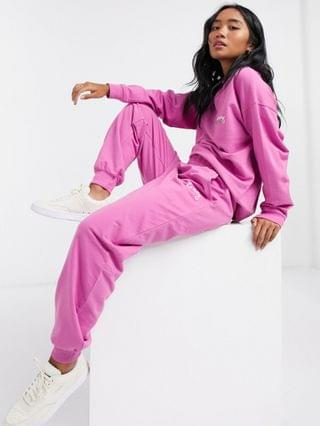 WOMEN Petite tracksuit oversized sweat with wash and embroidered slogan / oversized sweatpants in pink