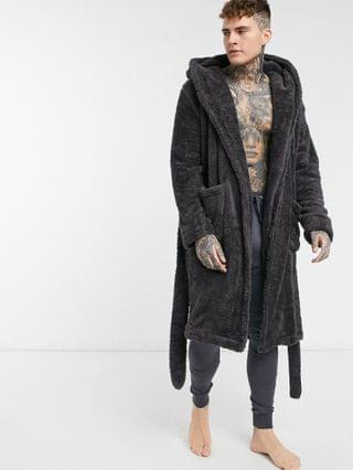 lounge dressing gown in charcoal fleece