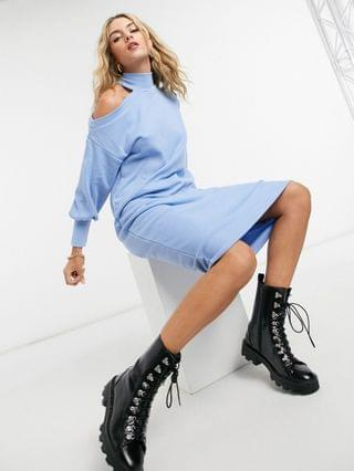 WOMEN super soft midi dress with cut out shoulder in light blue