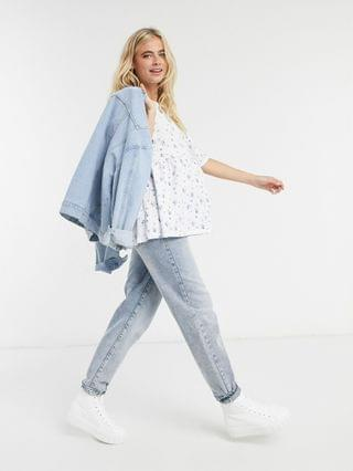 WOMEN Maternity causal smock top in ditsy print