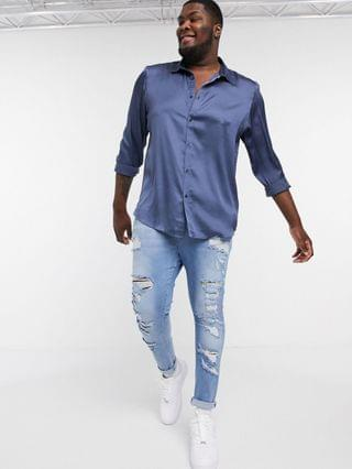 Plus relaxed fit satin shirt in petrol blue