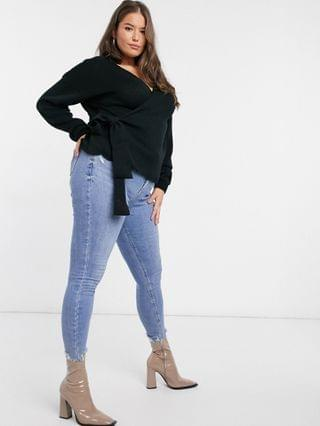 WOMEN In The Style Plus x Lorna Luxe knitted wrap detail top in black