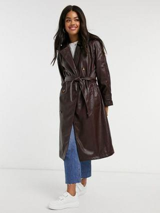 WOMEN Stradivarius faux-leather belted trench coat in brown