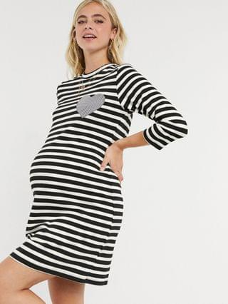 WOMEN Gebe Maternity stripe t-shirt dress in black and white