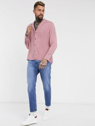 relaxed fit viscose shirt with low revere collar in pink