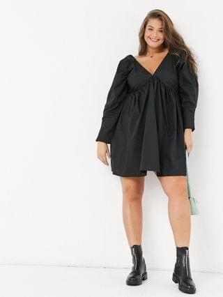 WOMEN Curve cotton babydoll mini dress in black