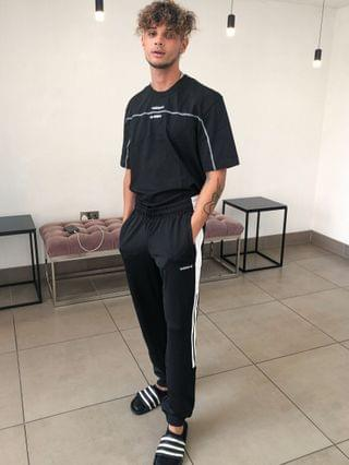 adidas Originals joggers with cut and sew in black